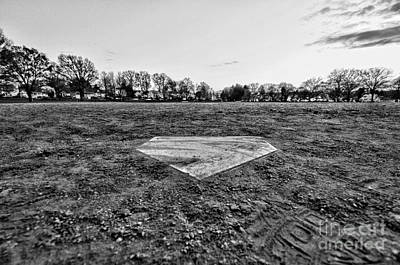 Home Plate Photograph - Baseball - Home Plate - Black And White by Paul Ward