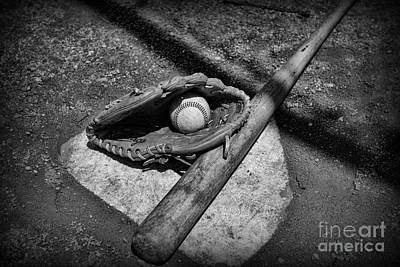 National Past Time Photograph - Baseball Home Plate In Black And White by Paul Ward