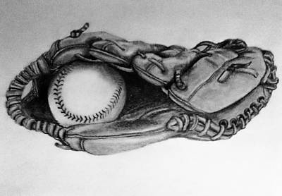 Baseball Gloves Drawing - Baseball In Glove by Cecilia Cooper