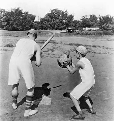 Photograph - Baseball In Union Suits by Underwood Archives
