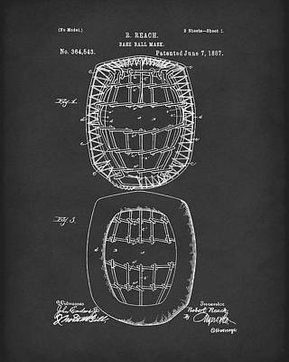 Drawing - Baseball Mask 1887 Patent Art Black by Prior Art Design