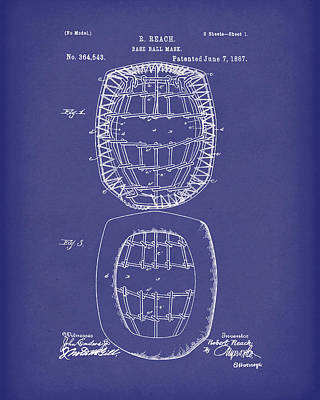 Drawing - Baseball Mask 1887 Patent Art Blue by Prior Art Design