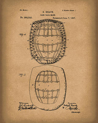 Drawing - Baseball Mask 1887 Patent Art Brown by Prior Art Design