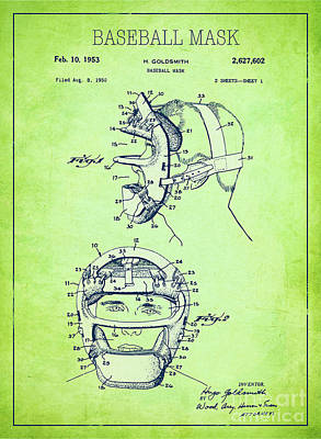 Single Object Drawing - Baseball Mask Patent Green Us2627602 A by Evgeni Nedelchev