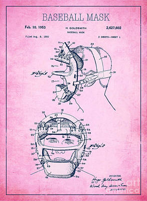 Single Object Drawing - Baseball Mask Patent Pink Us2627602 A by Evgeni Nedelchev