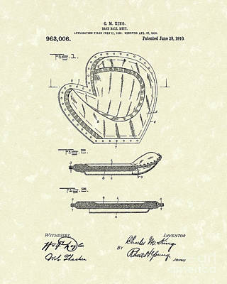 Baseball Art Drawing - Baseball Mitt 1910 Patent Art by Prior Art Design