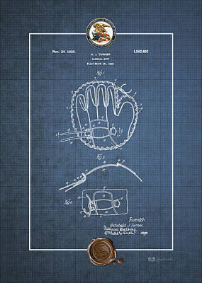 Baseball And Gloves Digital Art - Baseball Mitt By Archibald J. Turner - Vintage Patent Blueprint by Serge Averbukh