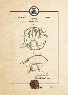 Baseball And Gloves Digital Art - Baseball Mitt By Archibald J. Turner - Vintage Patent Document by Serge Averbukh