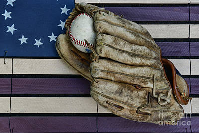 Folk Art Photograph - Baseball Mitt On American Flag Folk Art by Paul Ward