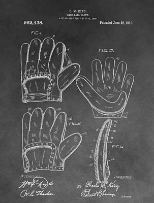 Athletes Royalty-Free and Rights-Managed Images - Baseball Mitt Patent by Dan Sproul