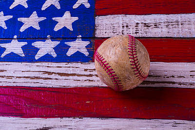 Baseball On American Flag Art Print