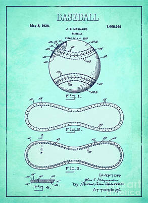 Single Object Drawing - Baseball Patent Blue Us1668969 by Evgeni Nedelchev