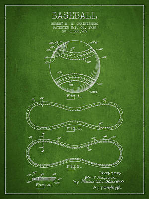 Baseball Art Drawing - Baseball Patent Drawing From 1928 by Aged Pixel