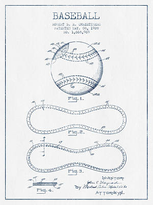 Sports Royalty-Free and Rights-Managed Images - Baseball Patent Drawing From 1928 - Blue Ink by Aged Pixel