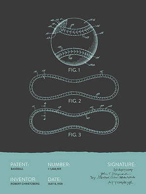 Sports Royalty-Free and Rights-Managed Images - Baseball Patent From 1928 - Gray Blue by Aged Pixel