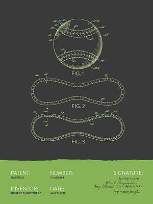 Sports Royalty-Free and Rights-Managed Images - Baseball Patent From 1928 - Gray Green by Aged Pixel