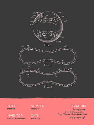 Sports Royalty-Free and Rights-Managed Images - Baseball Patent From 1928 - Gray Salmon by Aged Pixel