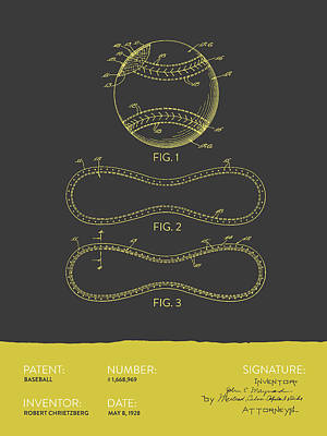 Sports Royalty-Free and Rights-Managed Images - Baseball Patent From 1928 - Gray Yellow by Aged Pixel
