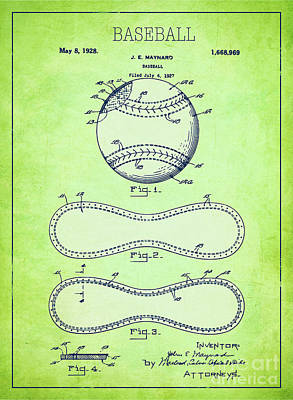 Single Object Drawing - Baseball Patent Green Us1668969 by Evgeni Nedelchev