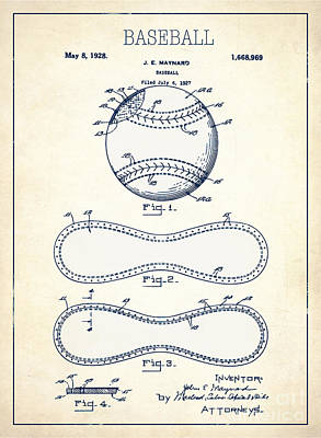Single Object Drawing - Baseball Patent White Us1668969 by Evgeni Nedelchev