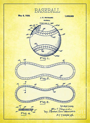 Single Object Drawing - Baseball Patent Yellow Us1668969 by Evgeni Nedelchev