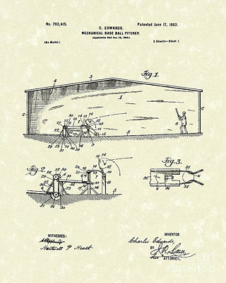 Drawing - Baseball Pitcher 1902 Patent Art by Prior Art Design