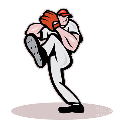 Baseball Pitcher Cartoon Art Print by Aloysius Patrimonio