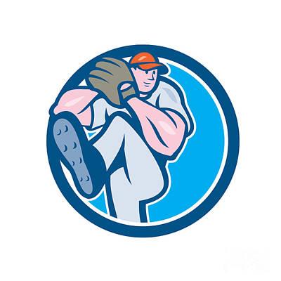 Outfielder Digital Art - Baseball Pitcher Outfielder Leg Up Circle Cartoon by Aloysius Patrimonio