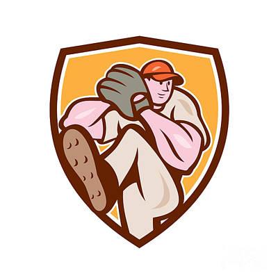 Outfielder Digital Art - Baseball Pitcher Outfielder Leg Up Shield Cartoon by Aloysius Patrimonio