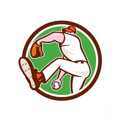 Pitching Digital Art - Baseball Pitcher Outfielder Throw Ball Circle Cartoon by Aloysius Patrimonio