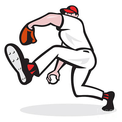 Baseball Pitcher Throwing Ball Cartoon Print by Aloysius Patrimonio