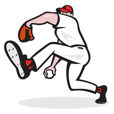 Baseball Pitcher Throwing Ball Cartoon Art Print by Aloysius Patrimonio