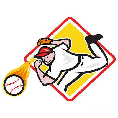 Baseball Pitcher Throwing Fire Ball Diamond Print by Aloysius Patrimonio