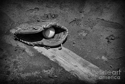 National Past Time Photograph - Baseball Pitchers Mound In Black And White by Paul Ward
