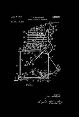 Baseball Art Drawing - Baseball Pitching Machine Patent 1964 by Mountain Dreams