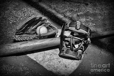 Baseball Play Ball In Black And White Art Print