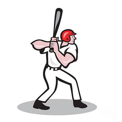 Baseball Player Batting Side Cartoon Art Print by Aloysius Patrimonio