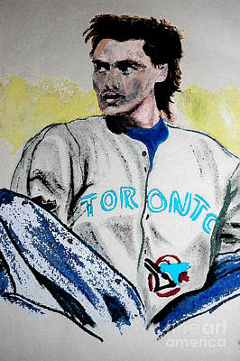 Toronto Blue Jays Mixed Media - Baseball Player by First Star Art