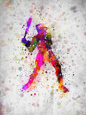 Softball Digital Art - Baseball Player - Holding Baseball Bat by Aged Pixel