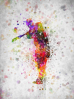 Softball Digital Art - Baseball Player - Taking A Swing by Aged Pixel
