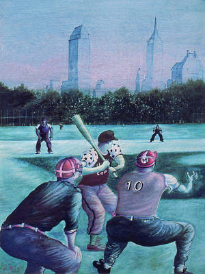 American Baseball Art Drawing - New York Central Park Baseball - Watercolor Art by Art America Gallery Peter Potter