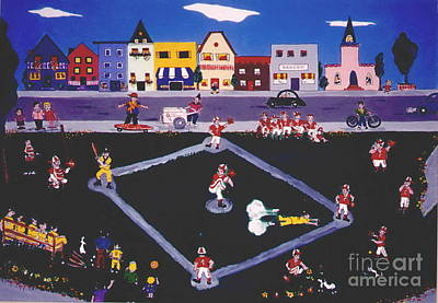 Art Print featuring the painting Baseball Practice by Joyce Gebauer