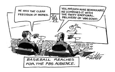 Baseball Art Drawing - Baseball Reaches For The Pbs Audience: by Mischa Richter
