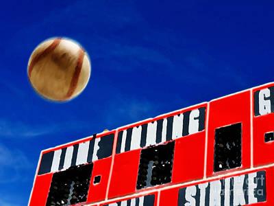 Softball Mixed Media - Baseball Scoreboard With Homerun by Lane Erickson