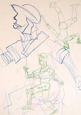 Baseball Set Up Drawing Art Print by Troy Thomas