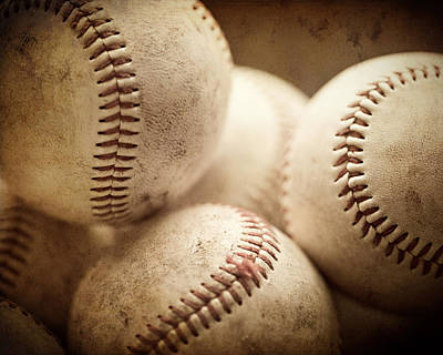 Baseball Sports Art Pile Of Well Worn Baseballs  Art Print