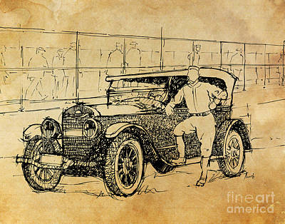 Baseball Art Drawing - Baseball Star On A New Ford by Pablo Franchi