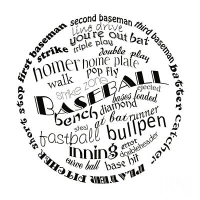 Digital Art - Baseball Terms Typography Black And White by Andee Design