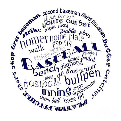 Baseball Terms Typography Blue On White Art Print by Andee Design