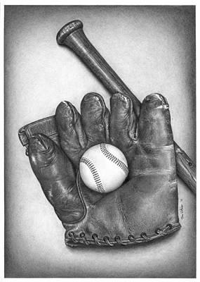 Baseball Gloves Drawing - Baseball Glove by Tom Whittaker